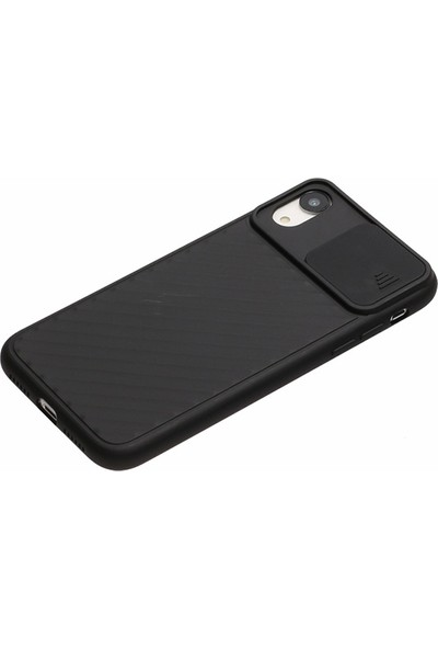 zengin çarşım Apple iPhone Xr Kamera Korumalı Yumuşak Sürgülü Silikon Kılıf Siyah