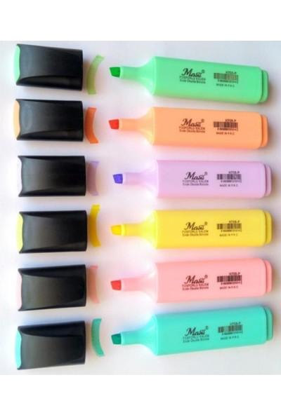 Masis Fosforlu İşaretleme Kalemi Seti Pastel Renkler 6 Renk