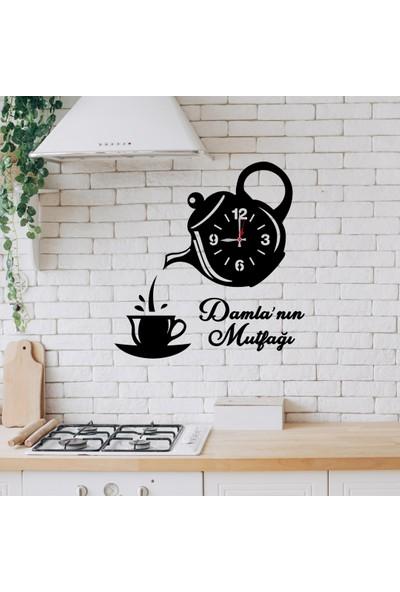 Kapbirhediye Kisiye Özel Çaydanlik Tasarimli Ahşap Mutfak Saati