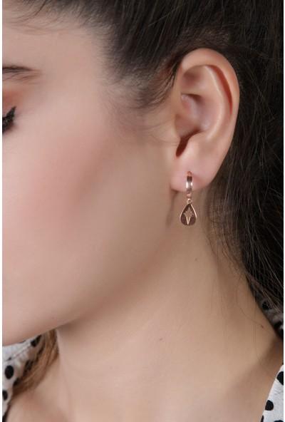 In Dubai Silver Damla Modeli Kutup Yıldızı Rose Gümüş Küpe
