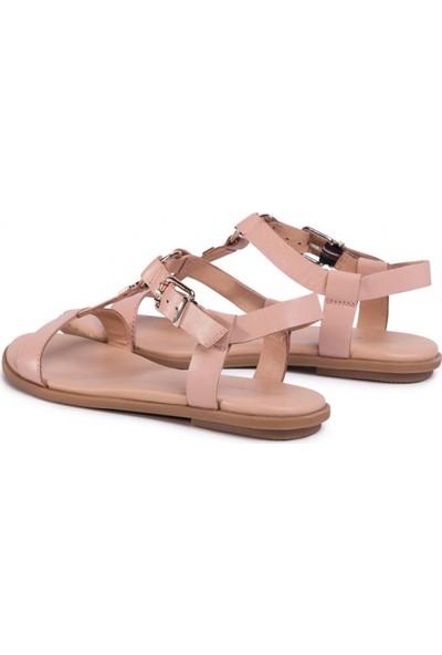 Tommy Hilfiger Kadın Feminine Leather Flat Sandal Kadın Sandalet FW0FW04882
