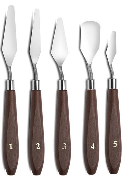 Hobialem Metal Spatula Seti,5 Li, Çelik Spatul, Akrilik, Yağlı Boya, Hobi Çalışmaları
