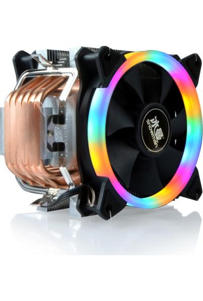 Snowman T6 6 Bakır Borulu Çift Fan Rainbow Ledli Güçlü Cpu Fanı