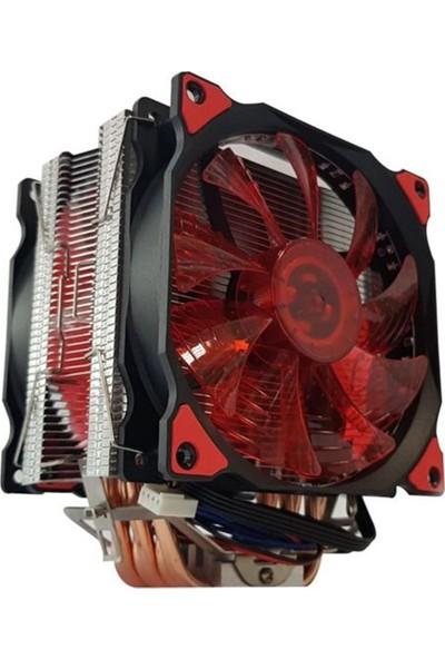 Snowman T6 6 Bakır Borulu Kırmızı Çift Fan Ledli Güçlü Cpu Fanı