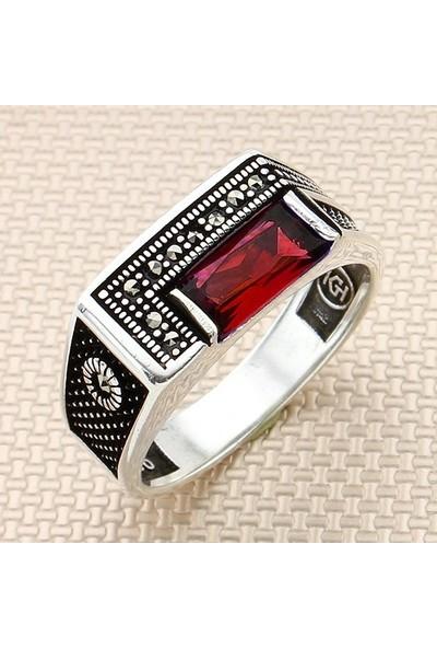 Dampigo MEK-285 Kırmızı Erkek Gümüş Yüzük 7 Gr.