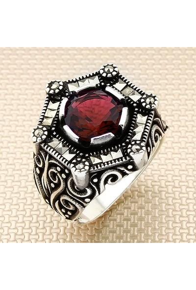 Dampigo MEK-127 Kırmızı Kesme Erkek Gümüş Yüzük 10.9 Gr.
