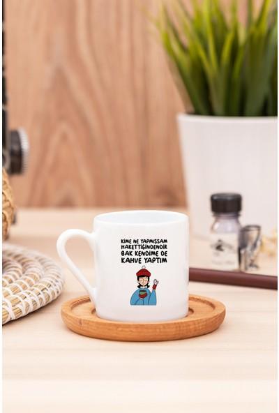 Hediye Dükkanı Bak Kendime De Kahve Yaptım Beyaz Türk Kahvesi Fincanı - 2
