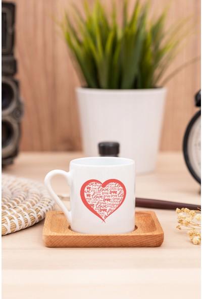 Hediye Dükkanı Love Kalpli Beyaz Türk Kahvesi Fincanı - 1