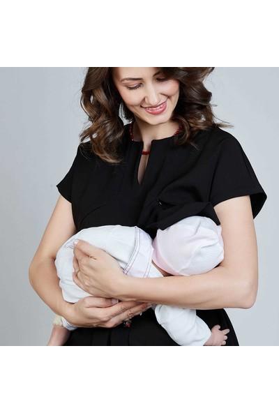 Mamma Lattes Emzirme Özellikli Hamile Şık Ofis Elbisesi