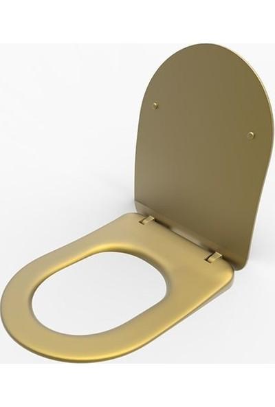 Lucco Avva Garcia Brilla Yavaş Kapanır Klozet Kapağı Komple Altın