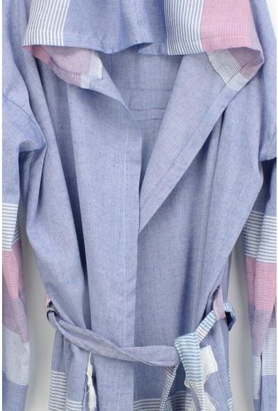 Bedinn Peştemal Bornoz Stripe lacivert-Kırmızı-beyaz