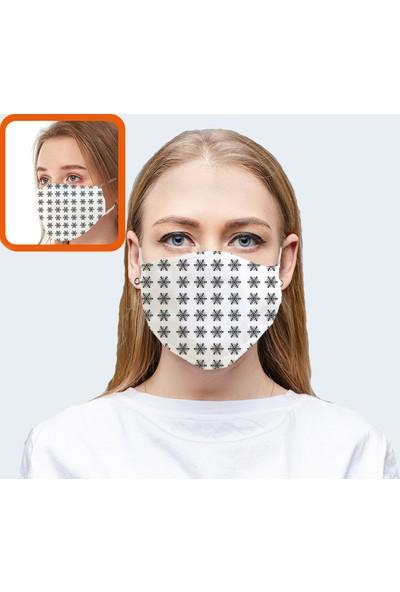 Coutoo Kar Tane Desenli Baskılı Yıkanabilir Bez Kadın Maskesi