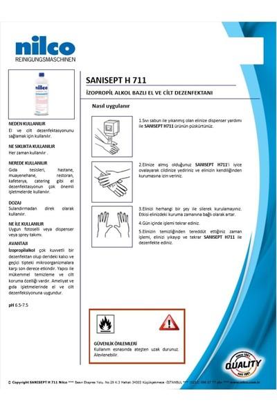 Nilco Sanisept El Dezenfektanı H711 100 ml Flip Top Kapak 8'li
