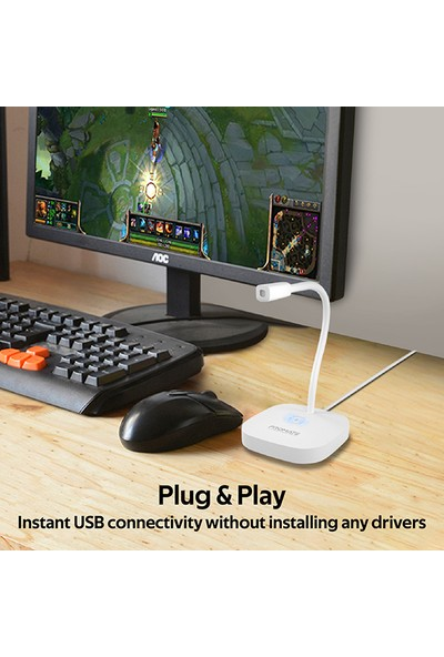 Promate Promic-1 Mikrofon PC Laptop İçin Esnek, HD Kayıt USB Giriş, Oyun ve Kayıt İçin