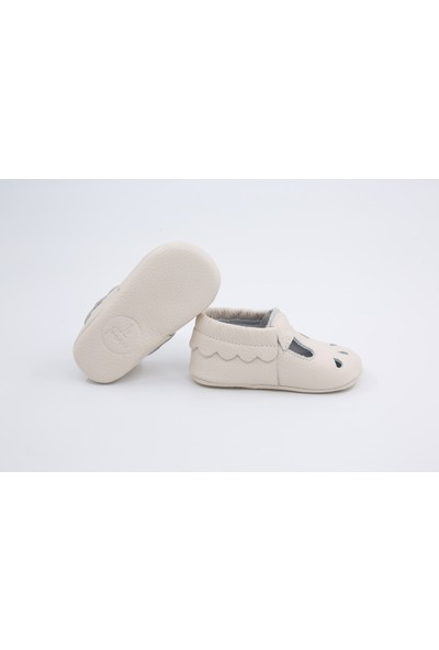 Li Puna Nena Serisi Beyaz Deri Bebek İlk Adım Ayakkabısı