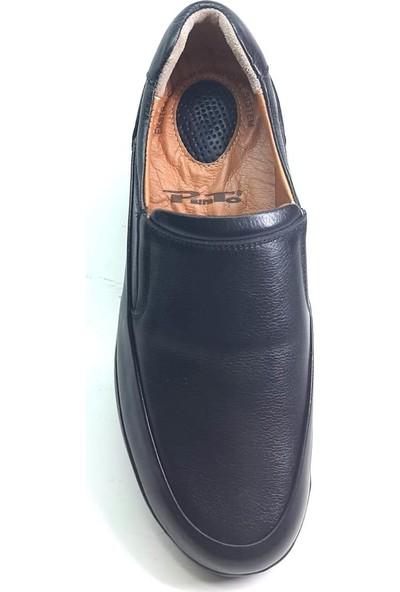 Punto 632679 Erkek Kalın Tabanlı Deri Ortapedik Ayakkabı Siyah 40