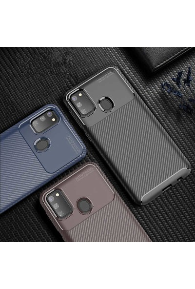 Tekno Grup Samsung Galaxy M21 Kılıf Karbon Desenli Lux Negro Silikon + Cam Ekran Koruyucu Lacivert