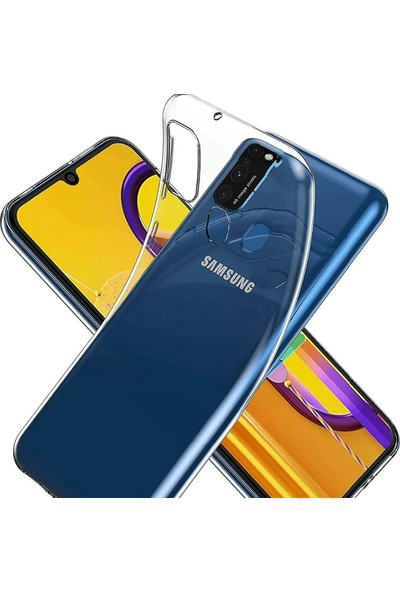 Tekno Grup Samsung Galaxy M21 Kılıf Lüx Silikon Kılıf + Cam Ekran Koruyucu Şeffaf