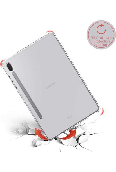 Tekno Grup Samsung Galaxy Tab S7 (T870) Kılıf Korumalı Lüx Silikon Kılıf + Nano Ekran Koruyucu Şeffaf