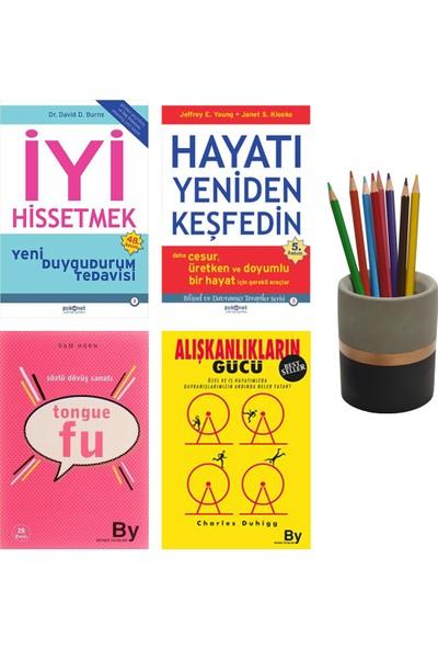 Alışkanlıkların Gücü - Tongue Fu - Iyi Hissetmek - Hayatı Yeniden Keşfedin - 4 Kitap Set + Betonsu Tasarım Kalemlik