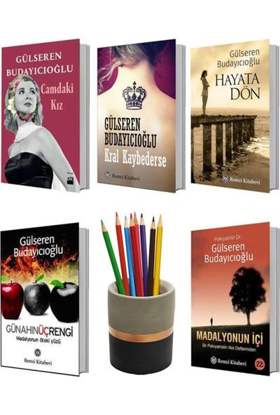 Gülseren Budayıcıoğlu 5 Kitap Set (Kral Kaybederse - Hayata Dön - Madalyonun Içi - Günahın Üç Rengi - Camdaki Kız) + Betonsu Tasarım Kalemlik