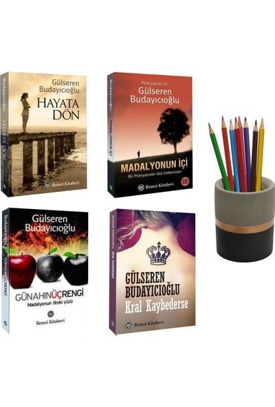 Gülseren Budayıcıoğlu 4 Kitap Set (Kral Kaybederse - Hayata Dön - Madalyonun Içi - Günahın Üç Rengi) + Betonsu Tasarım Kalemlik