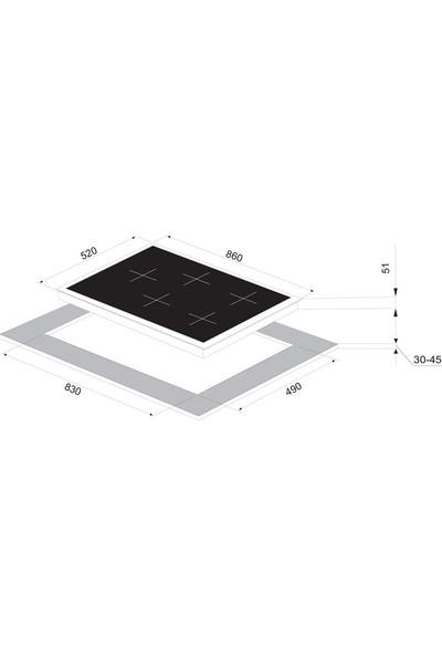 Vinola MOG.9120.111.01 Wok Gözlü Döküm Izgaralı Siyah Cam Ocak - Doğalgaz