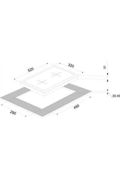 Vinola MOG.3010.111.01 Siyah Cam Domino Ocak - Doğalgaz
