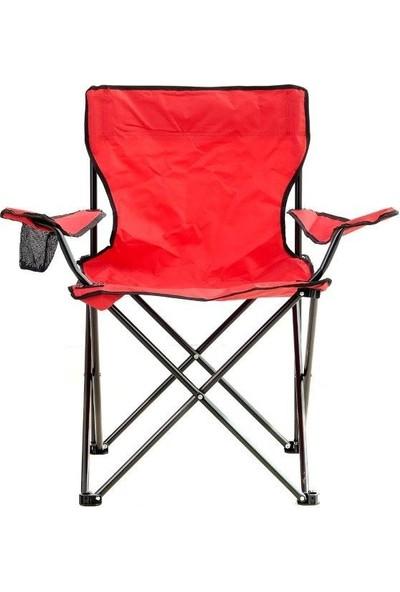 Byeren Kamp Seti- 2* Kamp Sandalye Kırmızı- 45*60 Piknik Sehpa Beyaz