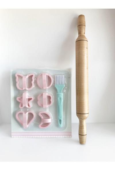 Evimsan Fırçalı Kurabiye Şekillendirme - Merdane Set - Kurabiye Seti - Merdaneli Kurabiye Kalıbı Seti