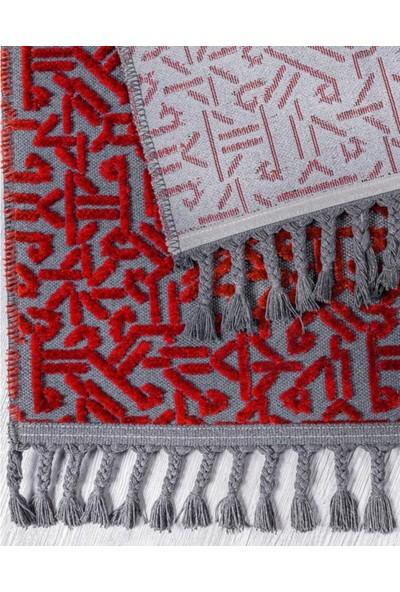 Evimod ELT05 Red Kırmızı Dekoratif Saçaklı Modern Halı Kilim