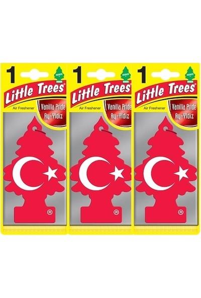 Car Freshner Little Trees Türk Bayraklı Vanilya Oto Kokusu 3 Adet