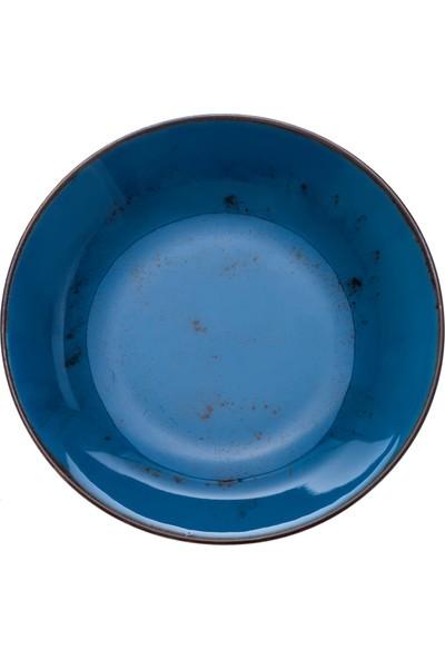 Zucci Tulü Porselen 19 cm Çorba Yemek Tabağı - Mavi