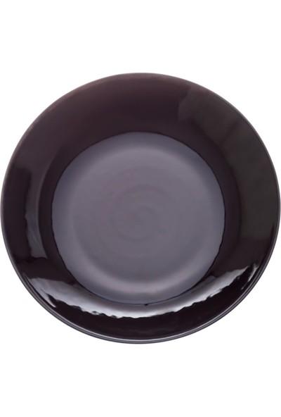 Zucci Tulü Porselen 19 cm Çorba Yemek Tabağı - Siyah