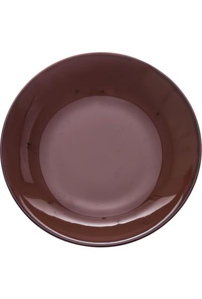 Zucci Tulü Porselen 19 cm Çorba Yemek Tabağı Kahverengi