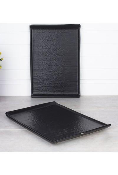 Zucci Mat Siyah Doğaltaş Sunum Tabağı 30 x 20 cm