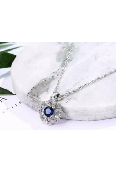 Enes Store Mavi Safir Taşlı Gümüş Kadın Kolye Küpe Seti
