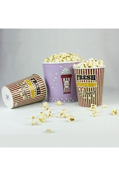 Zucci Zuccihome Popcorn Kovası 3'lü Set - Çizgili Fresh