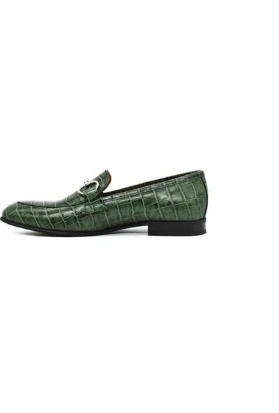 Fertini Haki Erkek Loafer Tokalı Krokodil Desenli Deri Ayakkabı