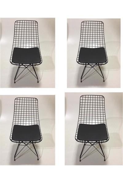 224home Siyah Tel Sandalye 4 lü
