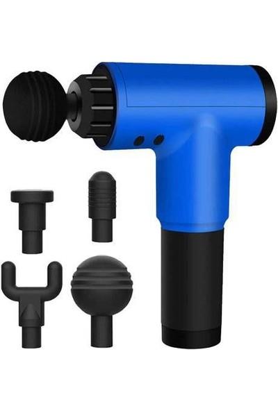 Realx 4 Başlıklı Titreşimli Yoğurmalı 6 Fonksiyonlu Masaj Aleti Mavi