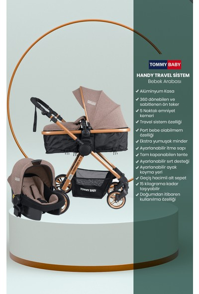 Tommybaby Handy Black New Travel Seyahat Sistem Çift Yönlü Bebek Arabası Puset