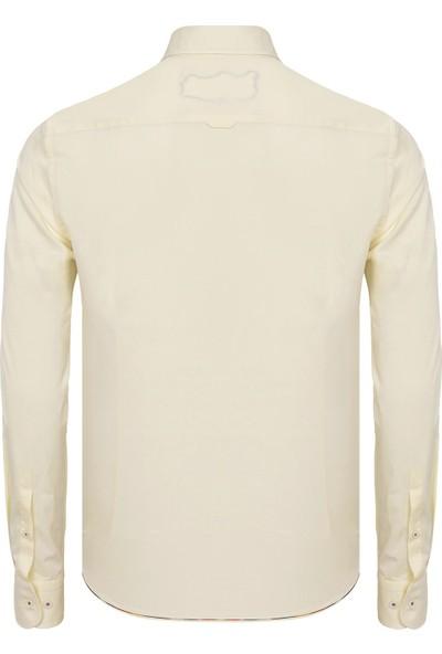 Paşahan Açık Sarı El Işlemeli Slim Fit Casual Gömlek