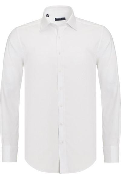 Paşahan Beyaz Slim Fit Double Manşet Gömlek