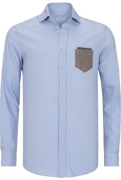 Paşahan Beyaz-Mavi Ekose Slim Fit Casual Gömlek