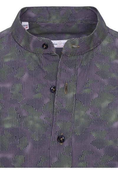 Paşahan Antrasit-Yeşil Baskılı Slim Fit Hakim Yaka Gömlek