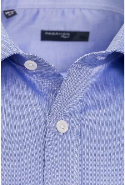 Paşahan Mavi Slim Fit Likralı Gömlek