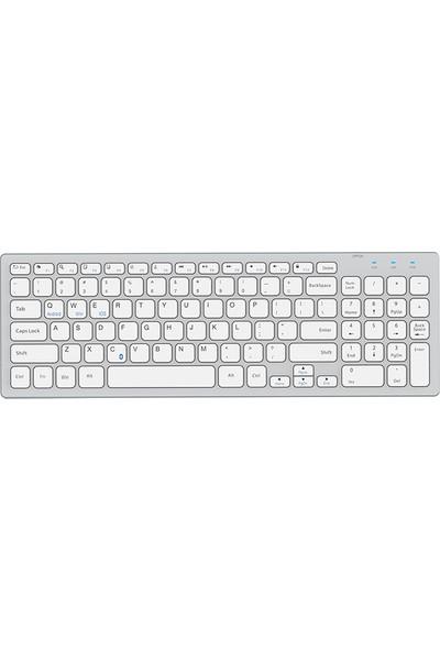 Everest KB-80W Beyaz/gümüş 2.4ghz Ultra Ince Q Kablosuz Klavye