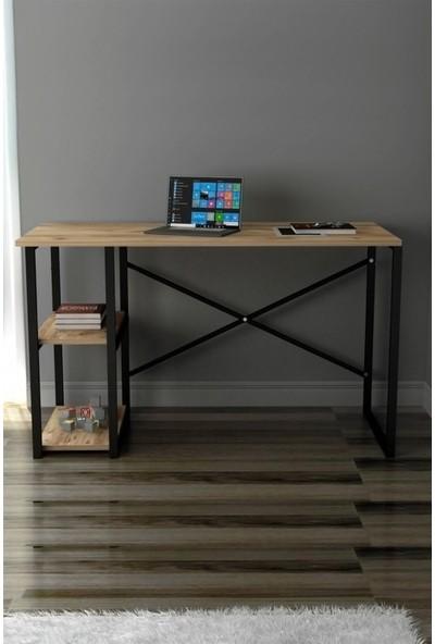 Larem Mobilya Bilgisayar Masası ve 5 Raflı Metal Kitaplık Set Çalışma Masası Laptop Ofis Masası Ceviz