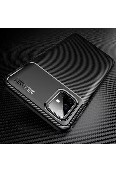 Samsung Galaxy M51 Kılıf Rugged Armor Karbon Tasarım Uzun Ömürlü Silikon Siyah